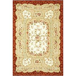Safavieh Hand-Hooked Aubusson Ivory/Burgundy Wool Area Rug (3'9 x 5'9)