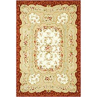 Safavieh Hand-hooked Aubusson Ivory/ Burgundy Wool Rug - 6' x 9'