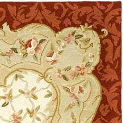 "Safavieh Hand-Hooked Aubusson Ivory/Burgundy 100-Percent Wool Rug (7'9"" x 9'9"") - Thumbnail 1"