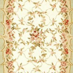 "Safavieh Hand-Hooked Aubusson Ivory/Burgundy 100-Percent Wool Rug (7'9"" x 9'9"") - Thumbnail 2"