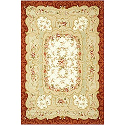 "Safavieh Hand-Hooked Aubusson Ivory/Burgundy 100-Percent Wool Rug (7'9"" x 9'9"")"