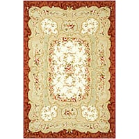 Safavieh Hand-Hooked Aubusson Ivory/Burgundy 100-Percent Wool Rug - 7'9' x 9'9'