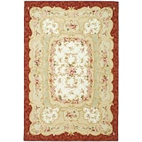 "Safavieh Hand-Hooked Aubusson Ivory/Burgundy 100-Percent Wool Rug - 7'9"" x 9'9"""