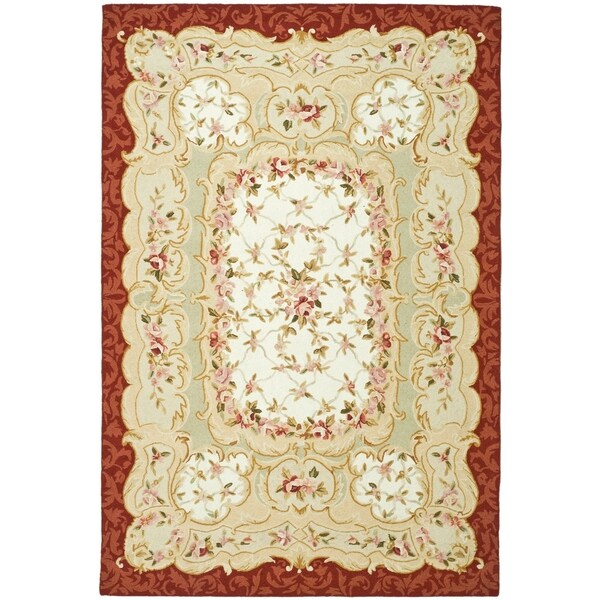 "Safavieh Hand-Hooked Aubusson Ivory/Burgundy 100-Percent Wool Rug - 7'-9"" x 9'-9"""