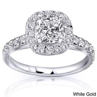 Annello by Kobelli 14k Gold 1 3/8ct TDW Cushion Cut Diamond Ring (H-I, SI1-SI2)