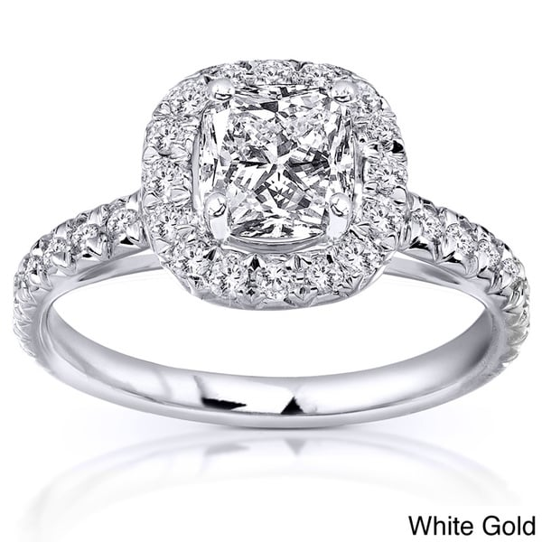 Annello by Kobelli 14k Gold 1 3/8ct TDW Cushion Cut Diamond Ring (H-I, SI1-SI2)