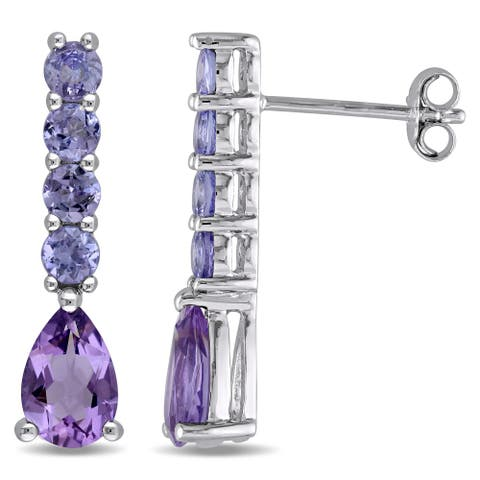 Miadora Sterling Silver Amethyst and Tanzanite Earrings
