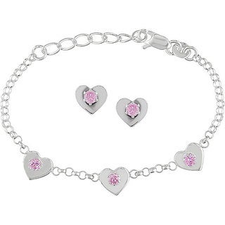 M by Miadora Sterling Silver CZ Heart Charm Bracelet and Earrings Set