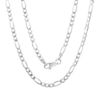 Sterling Essentials Italian Silver 3mm Diamond-cut Figaro Chain Necklace (16-30 Inch) (Option: White)