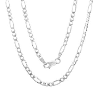 Sterling Essentials Italian Silver 3mm Diamond-cut Figaro Chain Necklace (16-30 Inch) (4 options available)