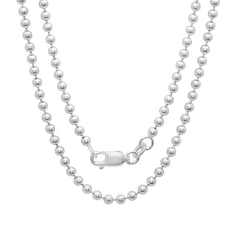 Roberto Martinez Sterling Silver 30-inch Bead Chain (2.5mm)