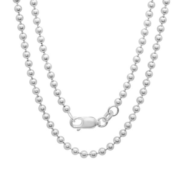 Sterling Essentials Sterling Silver 30-inch Bead Chain (2.5mm)