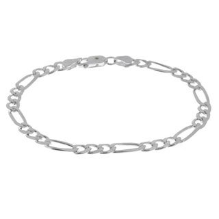 Sterling Essentials Sterling Silver 7-inch Diamond-Cut Figaro Bracelet (3mm)