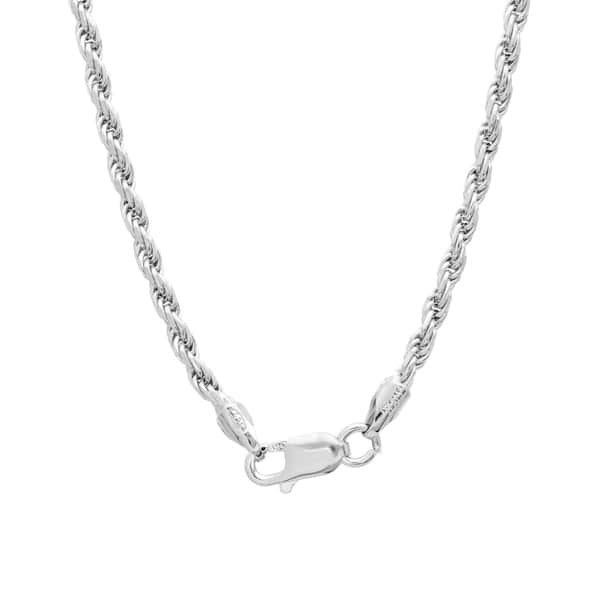 Shop Sterling Silver 20-inch Diamond-Cut Rope Chain (2 25mm