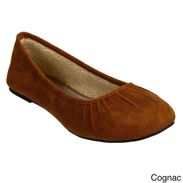 Glaze by Adi Women's Plush Lined Microsuede Ballet Flats
