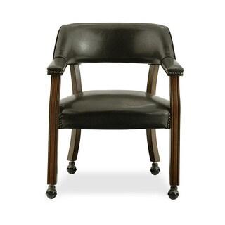 Dark Brown Vinyl Upholstered Caster Chair
