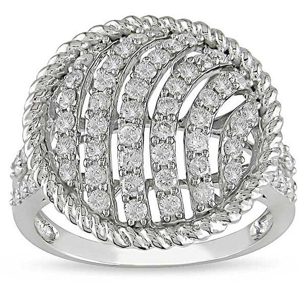 14k White Gold 1ct TDW Circle Diamond Ring (I-J, I1-I2)