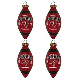 Tampa Bay Buccaneers Teardrop Ornaments (Set of 4)