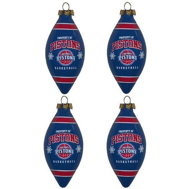 Detroit Pistons Teardrop Ornaments (Set of 4)