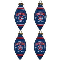Detroit Pistons Teardrop Ornaments (Set of 4)