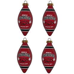 Arkansas Razorbacks Teardrop Ornaments (Set of 4)
