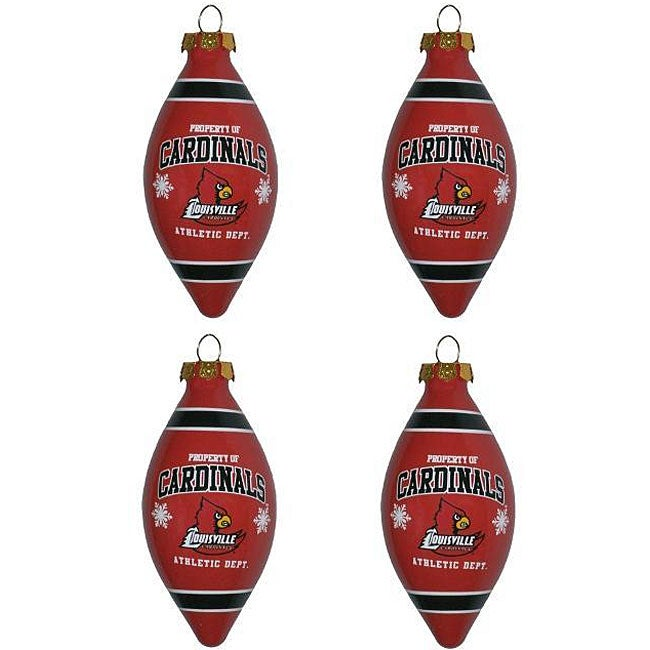 Louisville Cardinals Teardrop Ornaments (Set of 4)