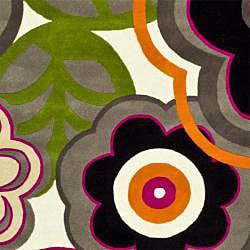 Safavieh Handmade Flower Power Ivory/ Multi N. Z. Wool Rug (7'6 x 9'6) - Thumbnail 2