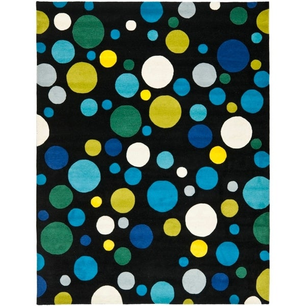 "Safavieh Handmade Soho Bubblegum Black/ Multi N. Z. Wool Rug - 7'6"" x 9'6"""