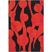 Safavieh Handmade Soho Flora Black/ Red New Zealand Wool Rug - 6' x 9'