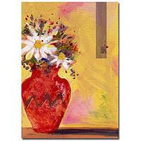 Sheila Golden 'Red Vase with Daisy' Gallery-wrapped Canvas Art