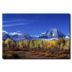 Kurt Shaffer 'Autumn Tetons' Large Gallery-wrapped Canvas Art - Thumbnail 2