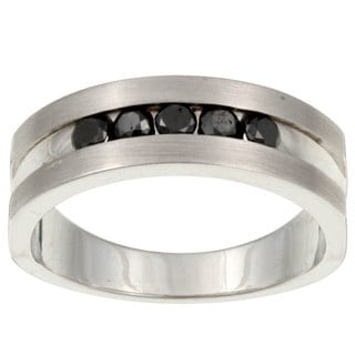 Unending Love Sterling Silver Men's 1/2ct TDW Black Diamond Ring