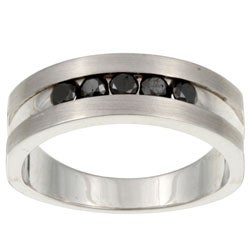Unending Love Sterling Silver Men's 1/2ct TDW Black Diamond Ring
