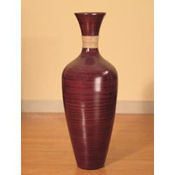 28 Inch Bamboo Floor Vase And White Gladiolas
