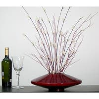 Fire and Ice Natural/Burgundy Red Bamboo Zen Vase Floral Set