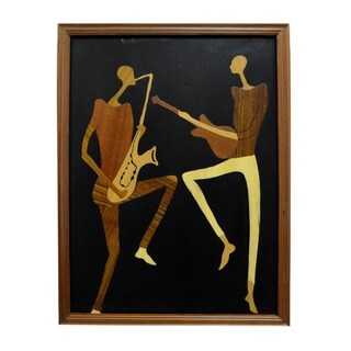 Hand-finished 'Sweet Music' Wood Overlay Picture , Handmade in Ghana