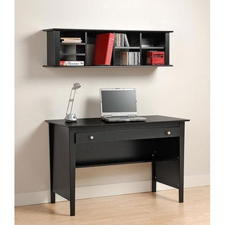 Broadway Black Computer Desk and Wall Hanging Hutch