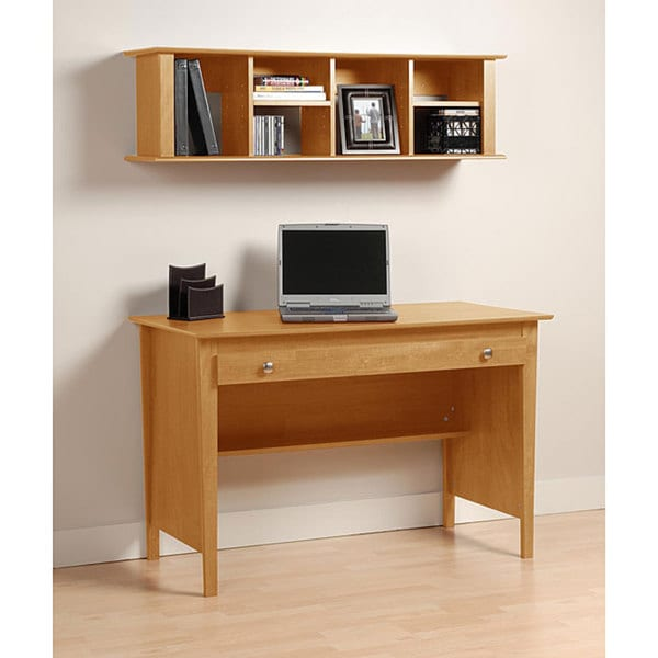Montego Maple Computer Desk and Wall Hanging Hutch