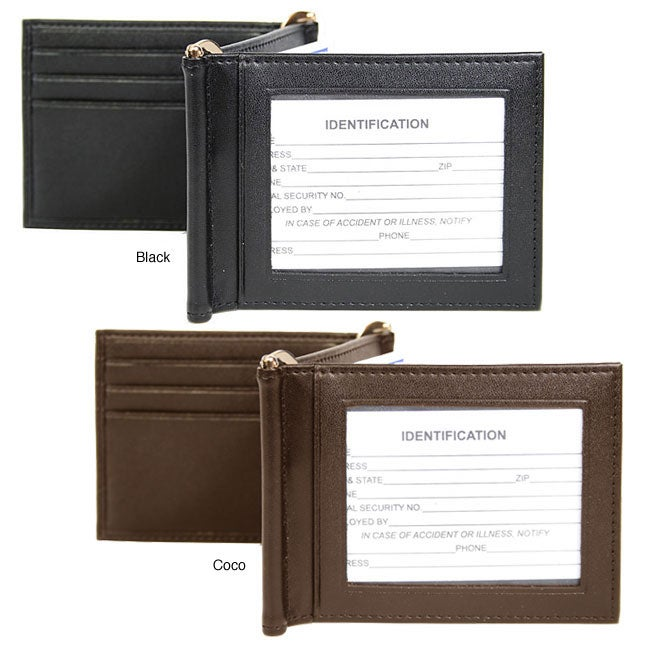 Royce Men's Leather Double ID Money Clips (Pack of 2)