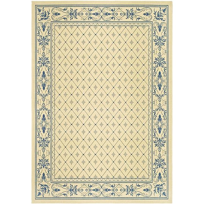 Safavieh Indoor/ Outdoor Summer Natural/ Blue Rug (8' x 11')