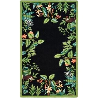 "Safavieh Hand-hooked Safari Black/ Green Wool Rug - 1'-8"" x 2'-6"""