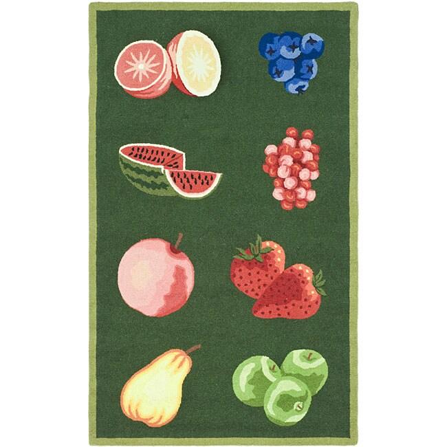 Safavieh Hand-hooked Fruits Hunter Green Wool Runner (2'6 x 4')