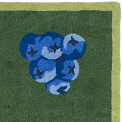 Safavieh Hand-hooked Fruits Hunter Green Wool Runner (2'6 x 4') - Thumbnail 1