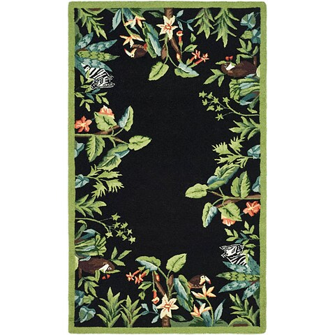 "Safavieh Hand-hooked Safari Black/ Green Wool Runner Rug - 2'6"" x 4'"