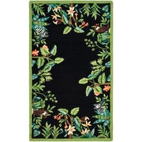 "Safavieh Hand-hooked Safari Black/ Green Wool Rug - 2'9"" x 4'9"""