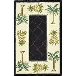 Safavieh Hand-hooked Palm Black/ Ivory Wool Rug (2'9 x 4'9)