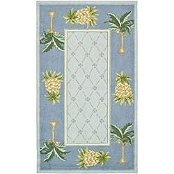 Safavieh Hand-hooked Palm Light Blue/ Blue Wool Runner (2' 6 x 4')