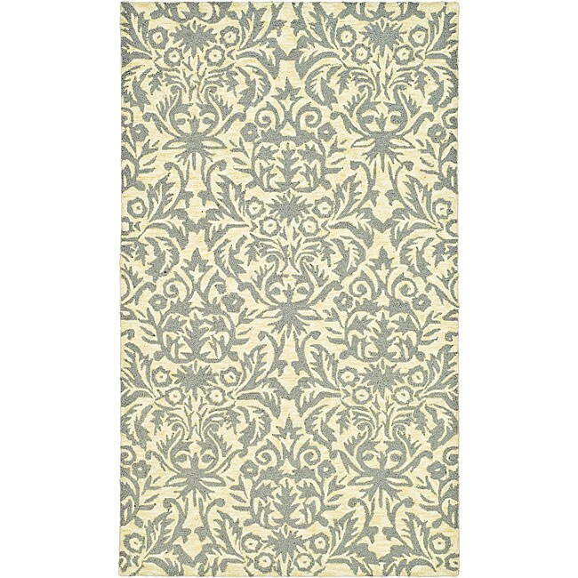 Safavieh Hand-hooked Damask Beige-Yellow/ Grey Wool Rug - 3'9 x 5'9