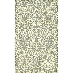 Safavieh Hand-hooked Damask Beige-Yellow/ Grey Wool Rug - 3'9 x 5'9 - Thumbnail 0
