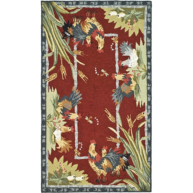 Safavieh Hand-hooked Roosters Burgundy Wool Rug (2'9 x 4'...